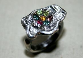 Ring silverblomma med safirer i pavéfattning - Silverblomma pavé