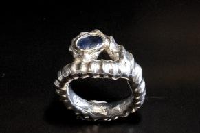 Repring silver, safir i guldfattning - Repring silver, safir i guldfatting