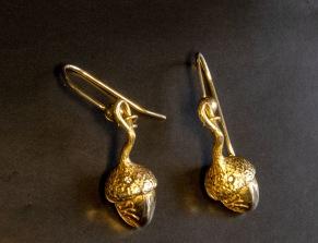 Guldekollon örhängen - Guldekollon med diamant