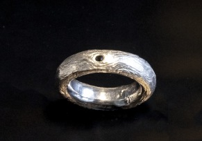 Silverring med svart diamant - Silverring med svart diamant