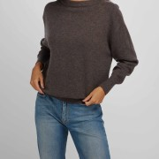Boat Neck Sweater dark brown