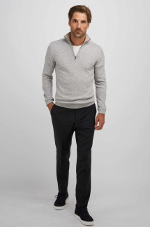 Man half zip Davida - Man half zip light grey S
