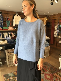Oversized box sweatshirt - Oversized box sweatshirt dusty blue S