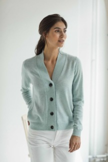 V-NECK BUTTONS CARDIGAN - V-NECK BUTTONS CARDIGAN dusty green S