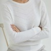 O-NECK V DETAILED SWEATER - O-NECK V DETAILED SWEATER white L