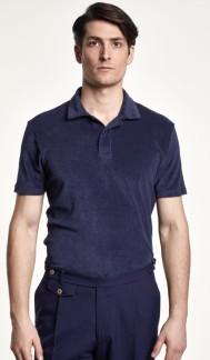 Lenno SS Terry polo shirt - Lenno SS Terry polo shirt navy S
