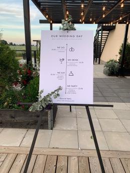 Our wedding day - tavla med dagordning