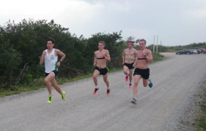 Johan Hydén, Staffan Ek, Filip Segerberg och Thobias Ekhamre under ett hårt tröskelpass.