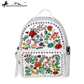 Ryggsäck med blomsterbroderier - Backpack ryggsäck vit