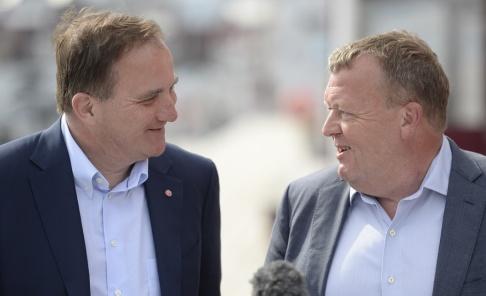 Statsminister Stefan Löfven (S) och Danmarks statsminister Lars Løkke Rasmussen (Venstre) i Örnsköldsvik i fjol.