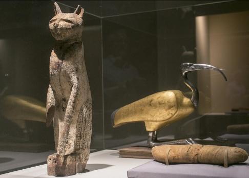 Damian Dovarganes/AP/TT En kattkista och dess mumie som visades vid en utställning om mumifierade djur på ett museum i Santa Ana i Kalifornien i USA för ett par år sedan. Arkivbild.