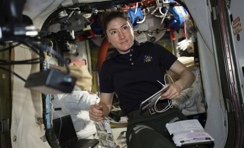 Nasa/AP/TT Christina Koch ombord på internationella rymdstationen ISS.