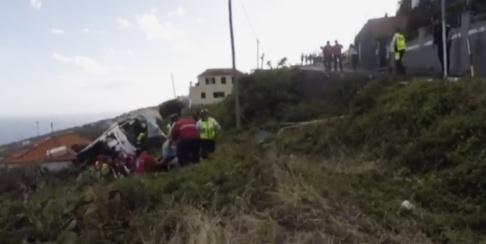 TVI/AP/TT Bussen körde av vägen och ned för en slänt.