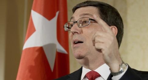 Ronald Zak/AP/TT Kubas utrikesminister Bruno Rodríguez rasar mot USA. Arkivbild.