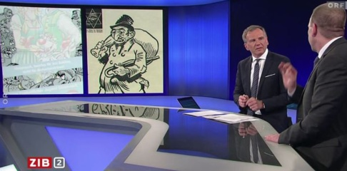 ORF Den österrikiske programledaren Armin Wolf jämförde en karikatyrteckning från FPÖ:s ungdomsförbund med propaganda från Nazityskland.