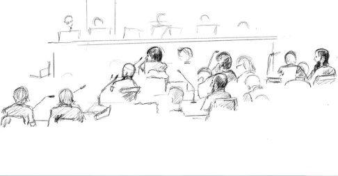 Ingela Landström/TT Illustration från förhandlingen i tingsrätten. Nu ska fallet upp i hovrätten för ny prövning. Arkivbild.