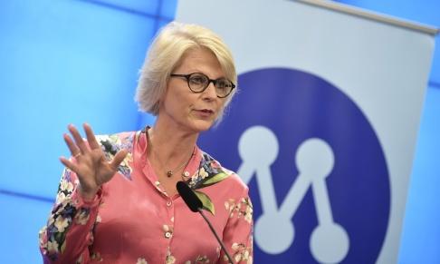 Pontus Lundahl/TT Elisabeth Svantesson (M) vid en presskonferens i måndags.
