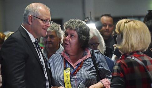 Mick Tsikas/AAP/AP/TT Australiens premiärminister Scott Morrison under mötet i Albury.