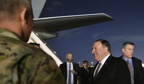 Mandel Ngan/AP/TT USA:s utrikesminister Mike Pompeo anlände till Iraks huvudstad Bagdad på tisdagen.