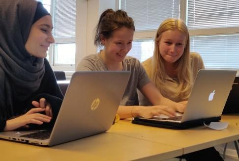 Ung Vetenskapssport/TT Totalt lockades 38 gymnasietjejer från många olika delar av landet till programmeringslägret.. Från vänster Bushra Alawad, 18 år, Agnes Ekman, 18, och Tuva Broström, 19 år.