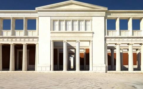 Så här ska delar av det återuppbygda palatset se ut i Pella. Foto: Digital skiss.