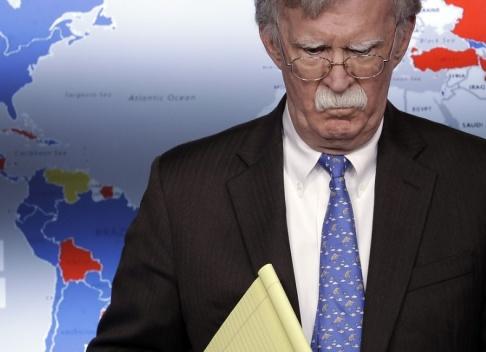 Evan Vucci/AP/TT USA:s nationelle säkerhetsrådgivare John Bolton vid en presskonferens om sanktioner mot Venezuela. Arkivbild.