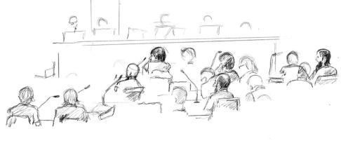 Ingela Landström/TT Illustration från förhandlingen i tingsrätten. Nu har hovrätten hävt häktningen för den man som dömdes till sju års fängelse i tingsrätten. Arkivbild.