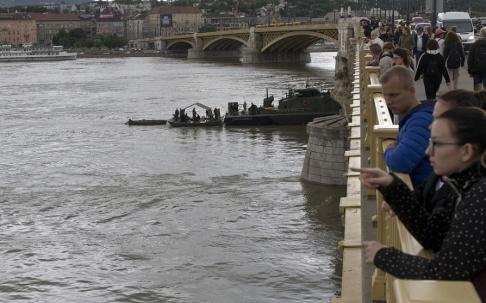 Marko Drobnjakovic/AP/TT Människor samlas på en bro över Donau där räddningsarbetet pågår.