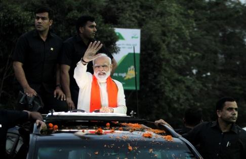 Statsminister Narendra Modi på valkampanj i Bhubaneswar. Foto: Zuma Press. TT Nyhetsbyrån.