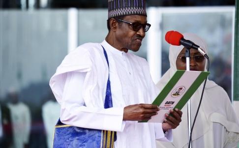 Foto: AP/TT Nigerias president Muhammadu Buhari har fördömt attackerna mot flera byar i norra delen av landet. Arkivbild.