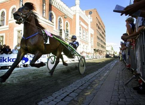 Lise Åserud / TT En travhäst i stadsmiljö, men här från ett stadslopp i norska Drammen.