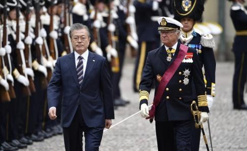 Henrik Montgomery/TT Sydkoreas president Moon Jae-In är på Norden-turné och anlände till Sverige i går för ett två dagar långt statsbesök.