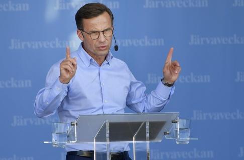 Anders Wiklund/TT Moderaternas partiledare Ulf Kristersson under sitt tal på Järvaveckan.
