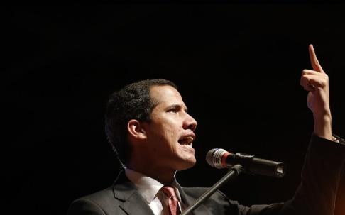 Ariana Cubillos/AP/TT Venezuelas oppositionsledare Juan Guaidó. Arkivbild.