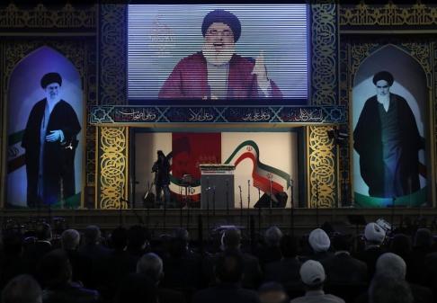 Hussein Malla/AP/TT Hizbollahs ledare Hassan Nasrallah i ett tv-sänt tal i februari i år.