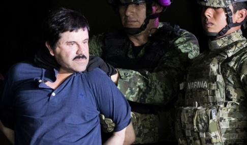 """Eduardo Verdugo Joaquín """"El Chapo"""" Guzmán visas upp efter gripandet 2016, sedan han lyckats med en spektakulär flykt från ett mexikanskt fängelse genom en dold lucka som ledde till en 1,5 kilometer lång tunnel. Arkivbild."""