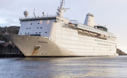 Tor Erik Schrøder/NTB Scanpix/TT Ocean Gala, här i Kristiansand på sin väg till Sverige i februari 2016. Fartyget lämnade Utansjö hamn norr om Härnösand efter sex månader utan att en enda asylsökande bott på fartyget.