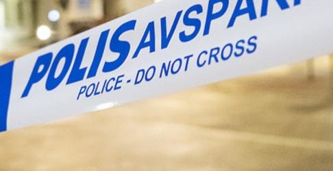 Johan Nilsson/TT Polisen har spärrat av ett område där en tomhylsa hittades. Arkivbild.