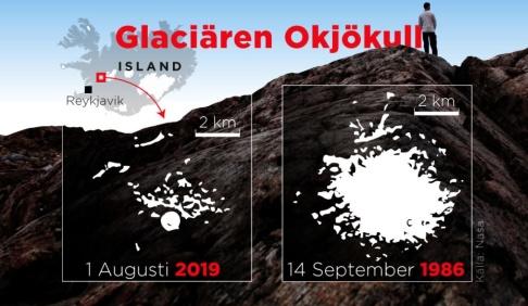 Mikael Andersson / TT Glaciären Okjökull.