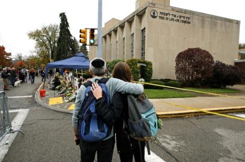 Gene J. Puskar/AP/TT Elva personer dödades i synagogan Tree of life i Pittsburgh i USA förra året. Arkivbild.