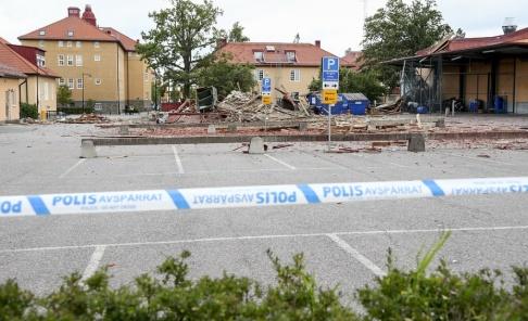 Jeppe Gustafsson/TT En polisbyggnad totalförstördes i smällen i Linköping. Arkivbild.