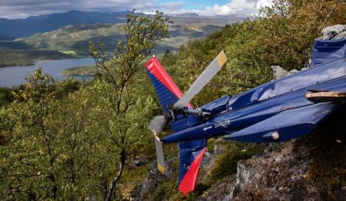 Tom Skoglund/Altaposten Helikoptervraket vid Kvenvikvannet nära Alta i norra Norge.