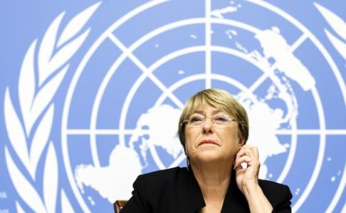 Salvatore Di Nolfi/Keystone/AP/TT Michelle Bachelet under sin presskonferens i Genève.