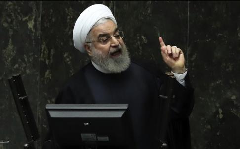 Vahid Salemi/AP/TT Irans president Hassan Rohani i parlamentet tidigare i veckan.
