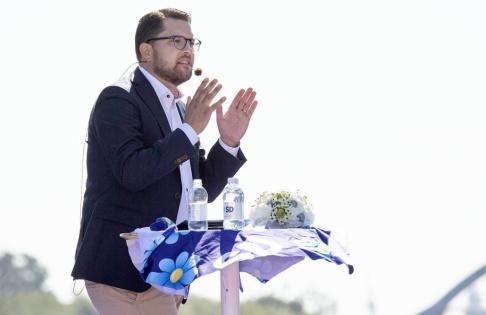Johan Nilsson/TT Sverigedemokraternas partiledare Jimmie Åkesson vid partiets sommarfestival i Sölvesborg i augusti. Arkivbild.