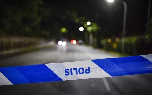 Jessica Gow/TT Polis fick spärra av ett område i Kristianstad efter att ett barn tagit med en granat till sin skola. Arkivbild.