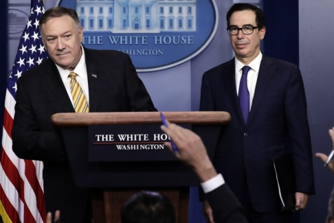 Evan Vucci/AP/TT USA:s utrikesminister Mike Pompeo och finansminister Steven Mnuchin.