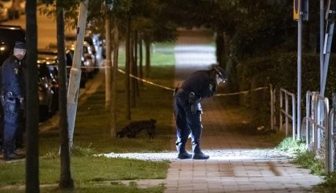 Johan Nilsson/TT Polisen har spärrat av en misstänkt brottplats i Malmö.