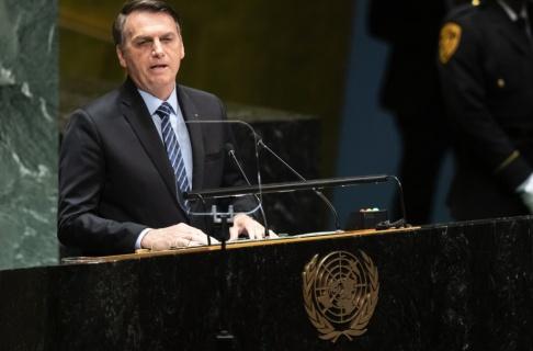 Mary Altaffer/AP/TT Brasiliens president Jair Bolsonaro talade inför FN:s generalförsamling på tisdagen.