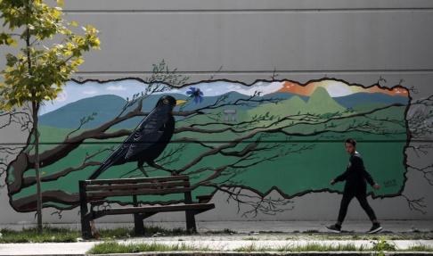Darko Vojinovic Graffiti i den delade staden Mitrovica, en symbol för hur kluvet Kosovo fortfarande är.